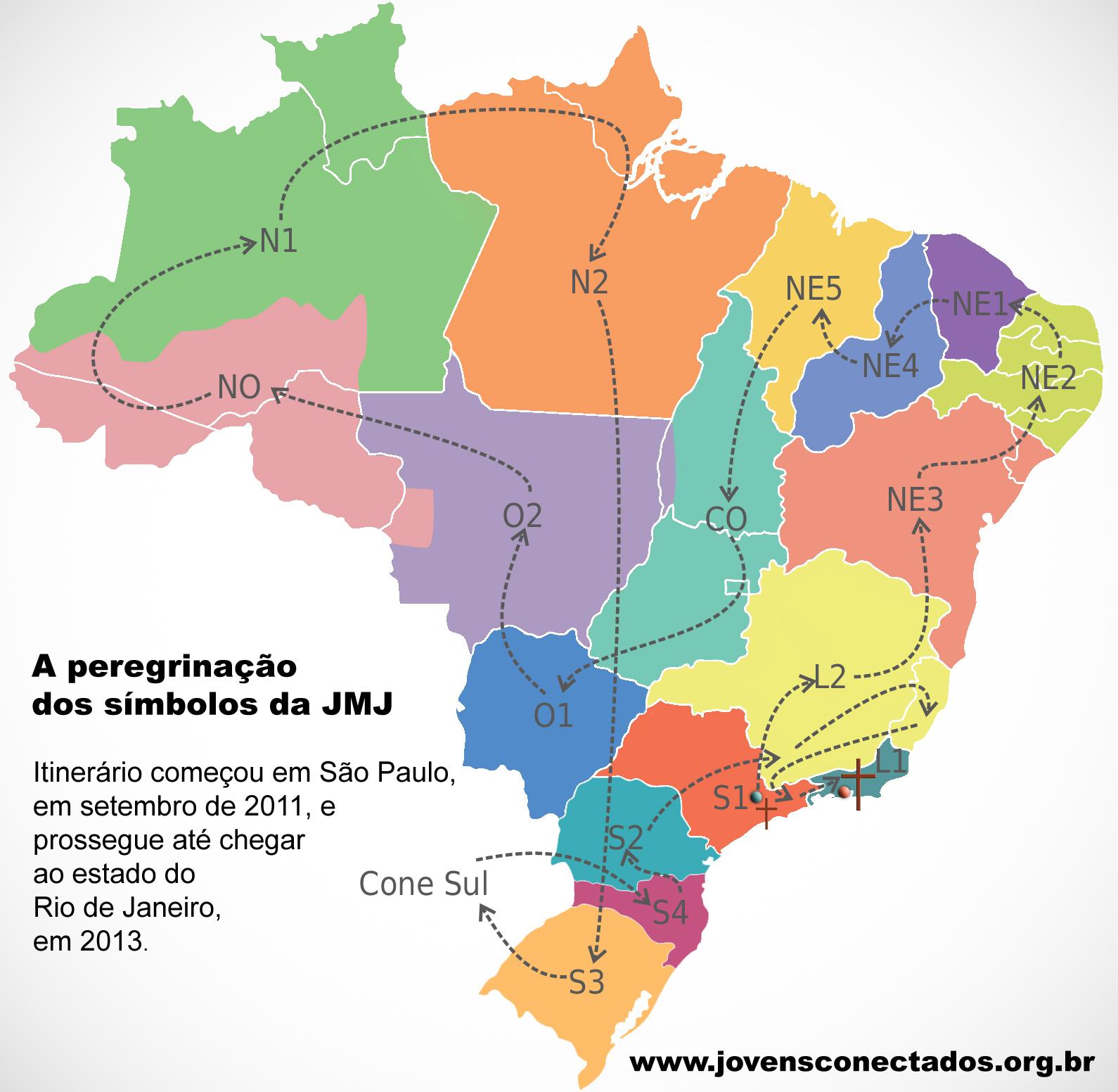 Veja o itinerário da peregrinação da Cruz da Jornada e do Ícone de Nossa Senhora pelo Brasil