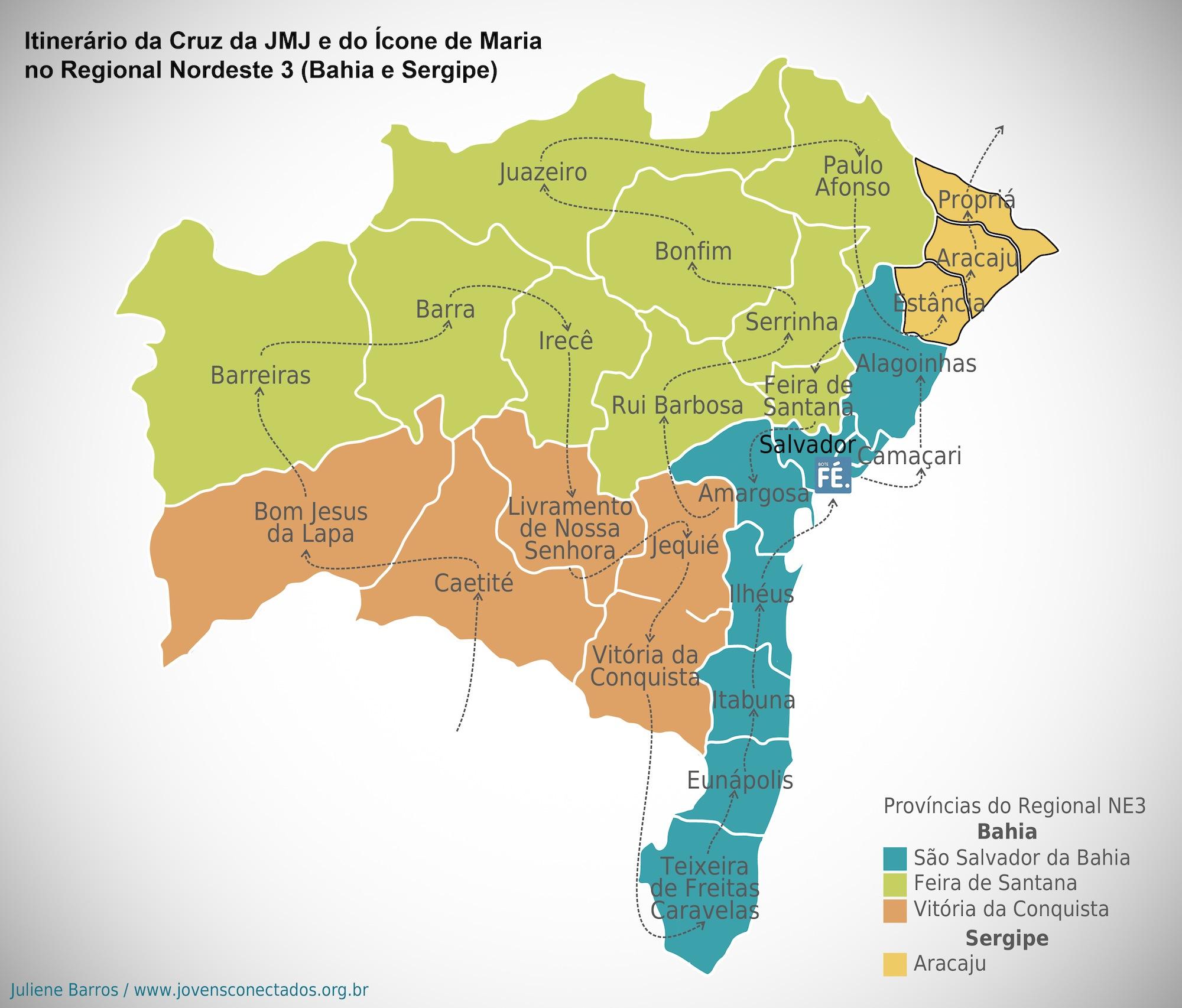 Veja como foi a peregrinação da Cruz dos Jovens e do Ícone na Bahia e em Sergipe