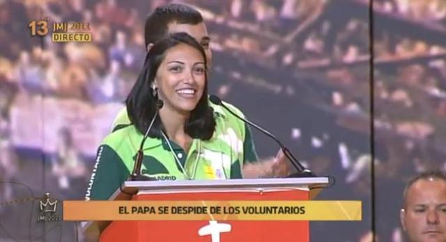 Voluntária brasileira na JMJ dá testemunho diante do Papa
