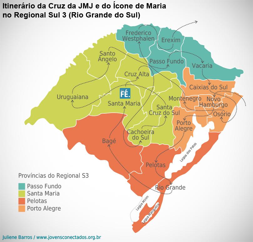 Veja como foi a peregrinação dos Símbolos da JMJ no Rio Grande do Sul