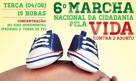 Marcha nacional pela vida vai mobilizar o país contra aborto no próximo dia 4