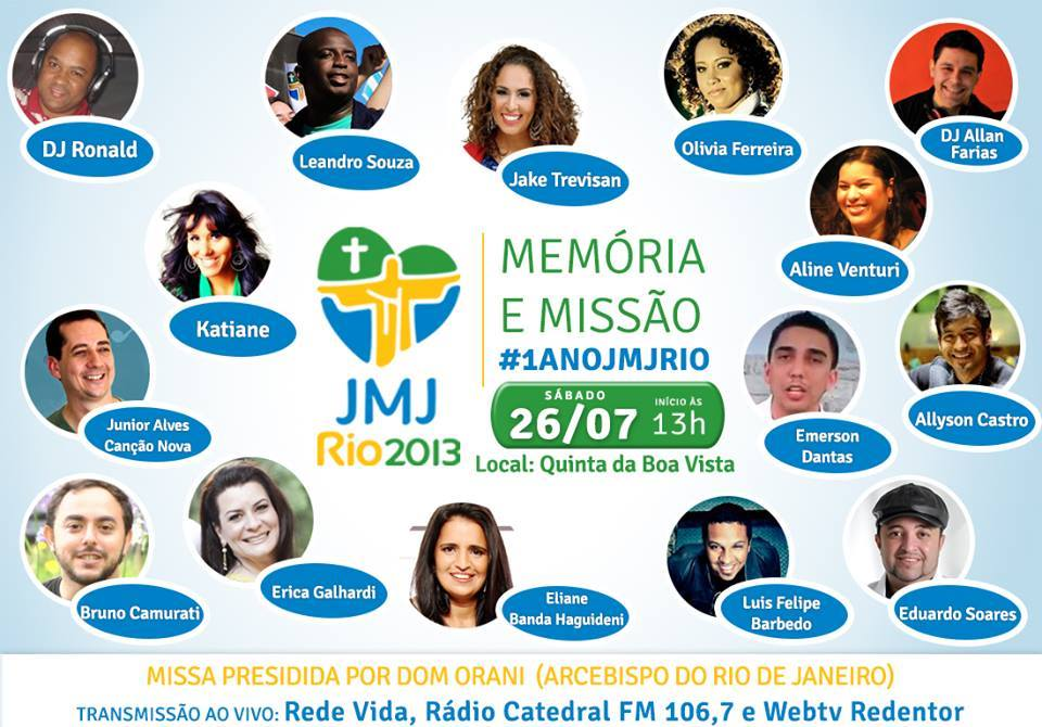 Grande festa na capital carioca vai celebrar 1 ano da JMJ Rio2013