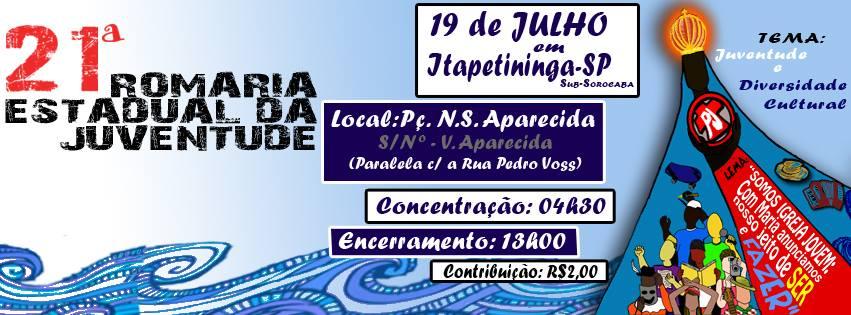 Pastoral da Juventude de São Paulo prepara 21ª Romaria Estadual