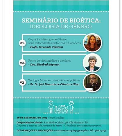Arquidiocese de São Paulo promove seminário de bioética sobre ideologia de gênero
