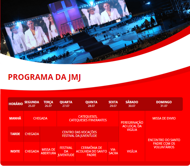 Confira a programação da JMJ 2016
