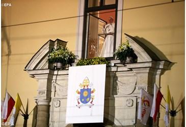 Papa Francisco saúda os jovens no final do primeiro dia na Polônia